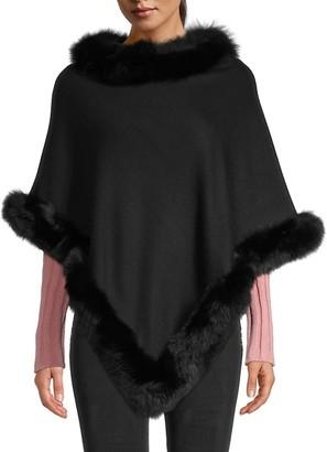 Adrienne Landau Fox Fur-Trimmed Poncho