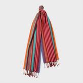 Paul Smith Women's Burgundy Multi-Coloured Stripe Silk-Blend Scarf