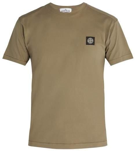 Stone Island Logo Patch Cotton T Shirt - Mens - Khaki