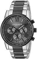 Akribos XXIV Men's AK865TTB Round Black-Dial Chronograph Quartz Black and Silver Tone Bracelet Watch