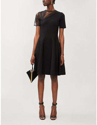 Oscar de la Renta Asymmetric mesh-detail stretch-woven mini dress