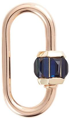 Marla Aaron Blue sapphire 14k rose gold baguette medium lock
