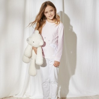 The White Company Polar Bear Side-Wrap Pyjamas (1-12yrs), Pink, 2-3yrs