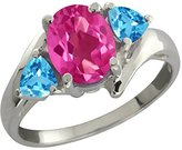 Gem Stone King 2.06 Ct Oval Pink Mystic Topaz and Swiss Blue Topaz 14k White Gold Ring