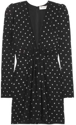 Saint Laurent Gathered Glittered Polka-dot Crepe Mini Dress