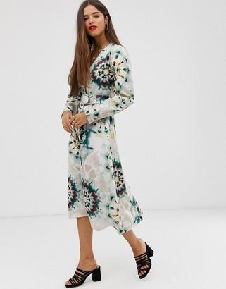 Neon Rose button through midaxi dress with belted waist in tie dye satin