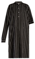 Balenciaga Asymmetric-sleeve striped shirtdress