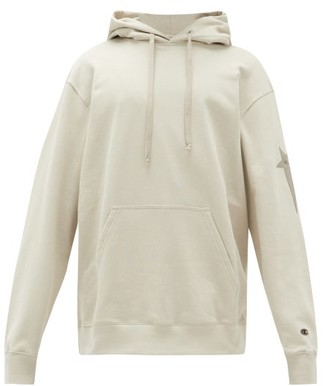Rick Owens X Champion Cotton-blend Hooded Sweatshirt - Mens - Beige