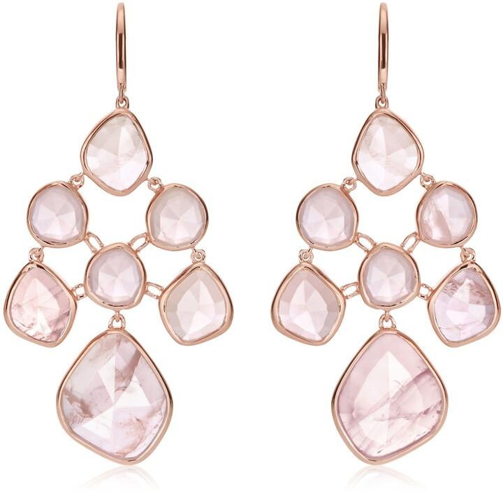 Monica Vinader RP Siren Rose Quartz Chandelier Earrings