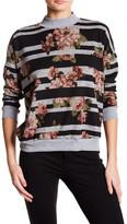 Bobeau Mock Neck Floral Stripe Pullover