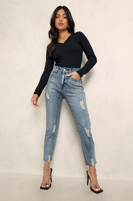 boohoo Petite Distressed Hem Straight Leg Jean
