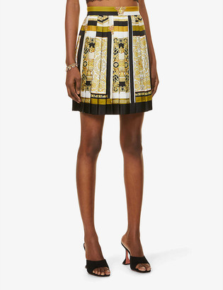 Versace Baroque-print high-waist silk mini skirt