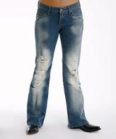 Stetson Blue Destructed Whiskey Wash Straight-Leg Jeans - Women