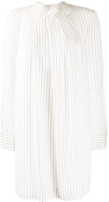 Nina Ricci Striped High Neck Dress