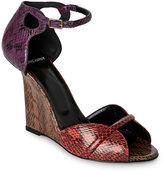 Pierre Hardy Tricolor Open Toe Snakeskin Wedge Sandals