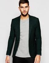 Asos Super Skinny Blazer In Green Herringbone