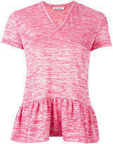Dondup V neck pleated trim top