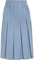 Gucci Pleated Houndstooth Wool-blend Skirt - Blue