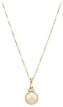 David Yurman Solari Pendant Necklace with South Sea Golden Pearl & Diamonds in 18K Gold