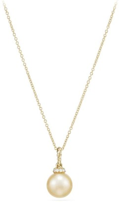 David Yurman Solari Pendant Necklace with South Sea Golden Pearl & Diamonds in 18K Yellow Gold