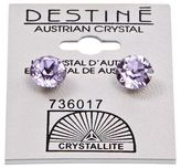 Crystallite Destine Violet Diamond Cut Earrings 8mm