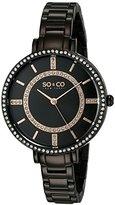 SO&CO New York Women's 5066.5 SoHo Quartz Crystal Accent Black Stainless Steel Watch