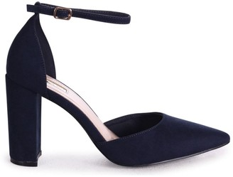 Linzi MARLIE - Navy Suede Court Shoe With Ankle Strap & Block Heel