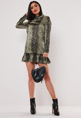Missguided Green Snake Print High Neck Drop Waist Smock Dress