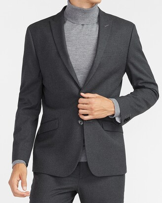 Express Extra Slim Solid Charcoal Flannel Suit Jacket