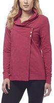 Danskin Women's French Terry Asymmetrical Yoga Wrap Jacket, XXL