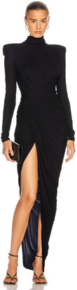 Alexandre Vauthier Ruched Long Sleeve Gown in Navy | FWRD