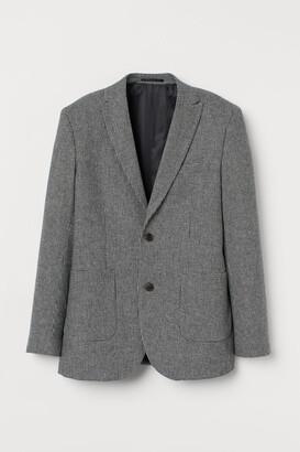 H&M Slim Fit Wool-blend Blazer - Gray