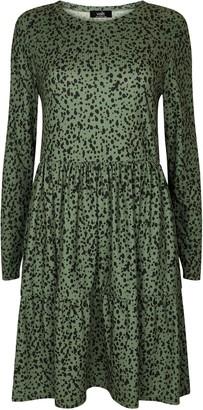 Wallis Khaki Spot Print Tiered Hem Dress