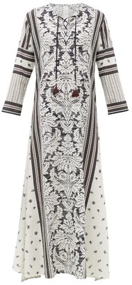 D'Ascoli Mecox Floral-print Silk Maxi Dress - Womens - Black Print