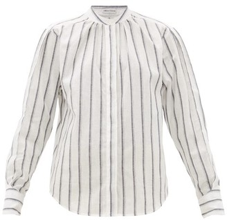 Officine Generale Paloma Band-collar Striped Cotton Shirt - Womens - White Black