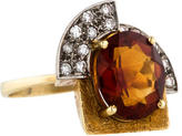 H.Stern 18K Citrine and Diamond Art Deco Cocktail Ring