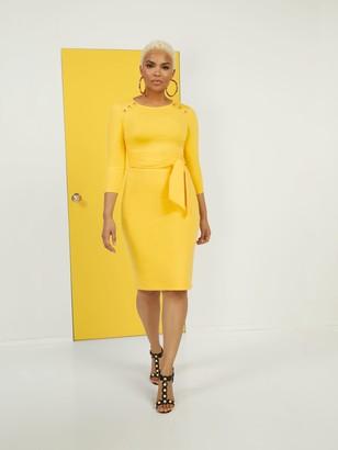 New York & Co. Tie-Front Button-Accent Ponte Dress - Superflex
