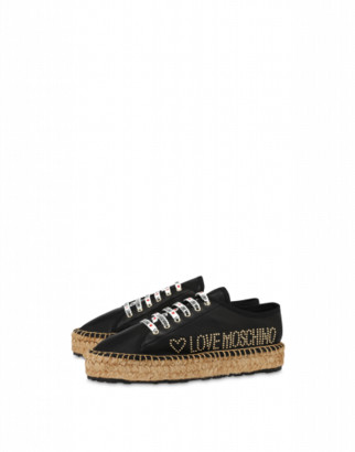 Love Moschino Sneakers In Nappa Leather Stud Logo Woman Black Size 36 It - (6 Us)