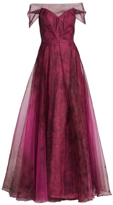 Rene Ruiz Collection Organza Off-The-Shoulder Gown
