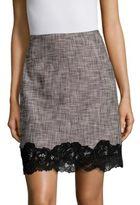Rebecca Taylor Slub Lace-Trimmed Mini-Skirt