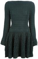 Alaia ribbed flared mini dress
