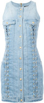 Balmain lace-up detail denim dress - women - Cotton/Spandex/Elastane - 38