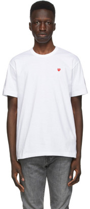 Comme des Garcons White and Red Small Heart T-Shirt
