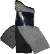 Ralph Lauren Polo by Men's Crew Socks Grey Tones Ribbed (pack of 3)
