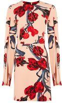 Tall floral split sleeve a-line dress