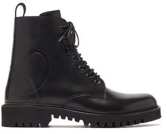 Valentino Logo Debossed Leather Boots - Mens - Black