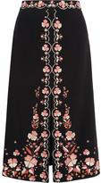 Vilshenko Claire Embroidered Crepe Skirt - Black