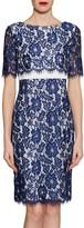 Gina Bacconi Cleopatra Scallop Flower Lace Dress, Navy
