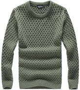 QZUnique Men's Casual Slim Fit Crew Neck Sweater Big and Tall Blue 5XL
