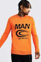 BoohoomanBoohooMAN Mens Orange MAN Branded Graphic Knitted Crew Neck Jumper, Orange